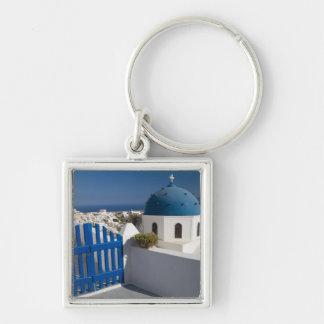 Grecia e isla griega de Santorini del Llavero Cuadrado Plateado