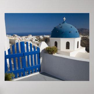 Grecia e isla griega de Santorini del Póster