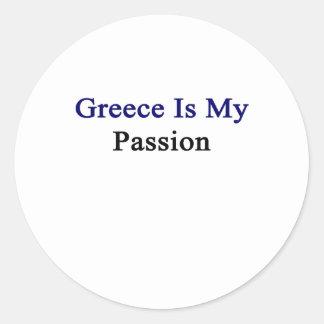 Grecia es mi pasión pegatina redonda