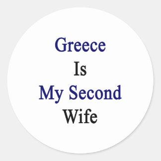 Grecia es mi segunda esposa pegatina redonda