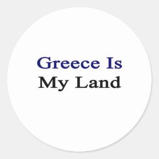 Grecia es mi tierra pegatina redonda