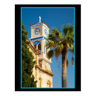 Grecia - iglesia griega ortodoxa con la palmera postales