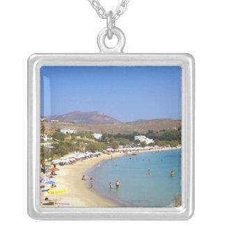 Grecia, isla de Paros, playa de Krios desde arriba Colgante Cuadrado