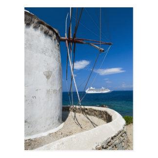 Grecia, islas de Cícladas, Mykonos, molino de Tarjeta Postal