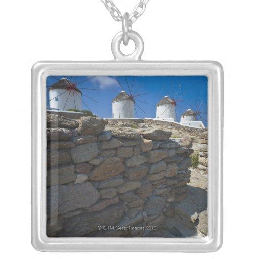 Grecia, islas de Cícladas, Mykonos, pared de Colgante Cuadrado