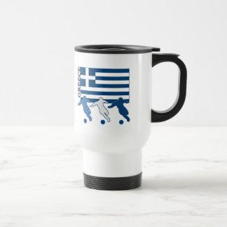 Grecia - jugadores de fútbol taza de viaje
