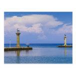 Grecia, Rodas, estatua de los ciervos en el puerto Tarjeta Postal
