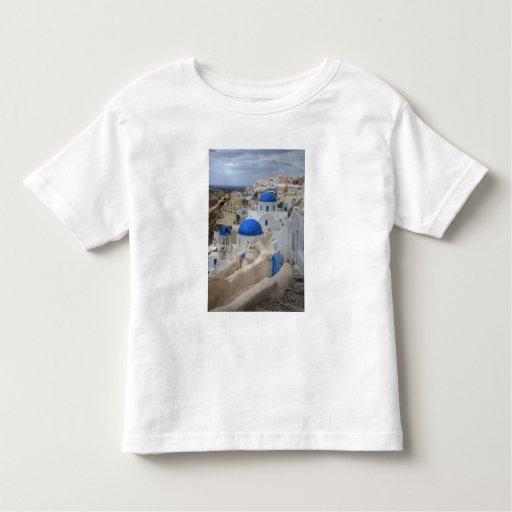 Grecia, Santorini. Campanario y bóvedas azules de Camisas