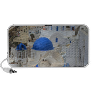 Grecia, Santorini. Campanario y bóvedas azules de  iPhone Altavoz