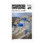 Grecia, Santorini. Campanario y bóvedas azules de Sello