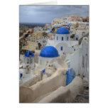 Grecia, Santorini. Campanario y bóvedas azules de  Tarjeta De Felicitación