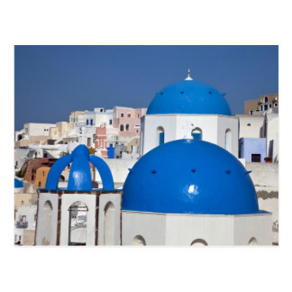 Grecia, Santorini. Campanario y bóvedas azules de Tarjeta Postal