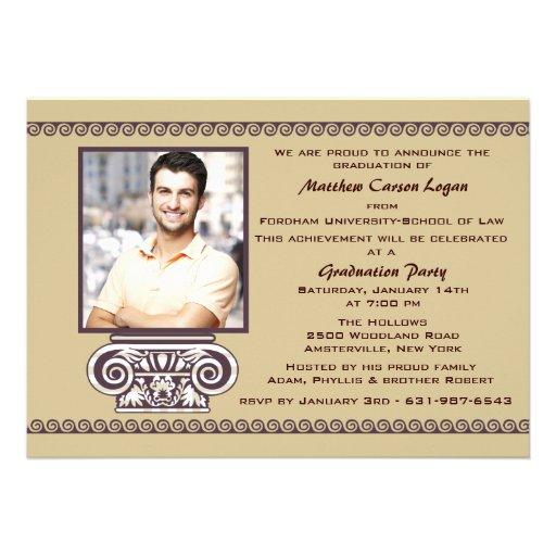 Grecian Influence Photo Graduation Invitation