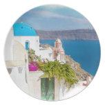 Grecian Paradise. Watercolor painting of Santorini Melamine Plate