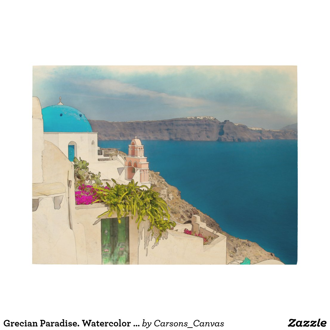 Grecian Paradise. Watercolor painting of Santorini Wood Print