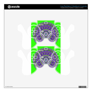 Grecian Tiles Kaleidoscope with Neon Green PS3 Controller Skin
