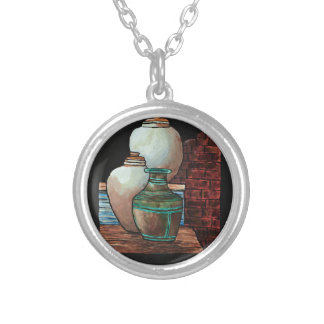 Grecian Urns. Silver Plated Necklace