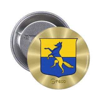 Greco Historical Shield on Golden Sunburst Button