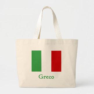 Greco Italian Flag Large Tote Bag