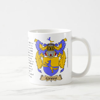 Greco, the Origin, the Meaning and the Crest Classic White Coffee Mug