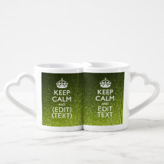 Gree Glitter Print Personalize Your Keep Calm Gift Couples Mug