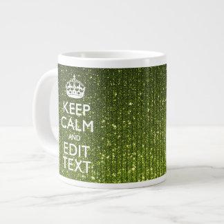 Gree Glitter Print Personalize Your Keep Calm Gift Jumbo Mug
