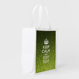 Gree Glitter Print Personalize Your Keep Calm Gift Market Totes