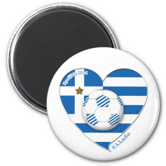 "Greece ""ΕΛΛΆΔΑ"" Soccer Team. Soccer Greece 2014 2 Inch Round Magnet"
