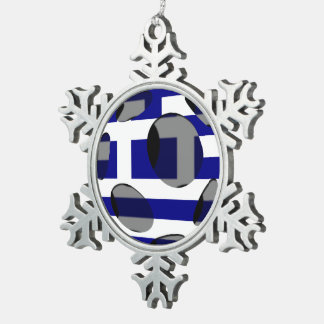 Greece #1 snowflake pewter christmas ornament