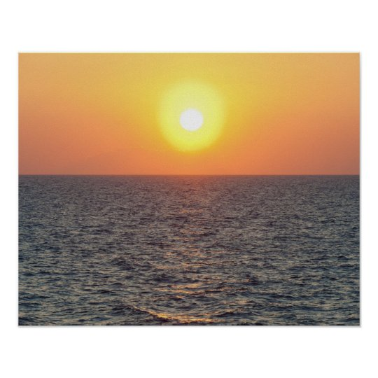 Greece, Aegean Sea horizon at sunset Poster