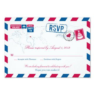 Greece Air Mail Wedding RSVP Card