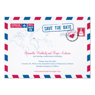 Greece Air Mail Wedding Save The Date Card
