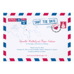 Greece Air Mail Wedding Save The Date Custom Invites