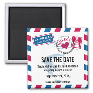 Greece Air Mail Wedding Save the Date Refrigerator Magnet