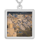 Greece and Greek Island of Santorini town of Square Pendant Necklace