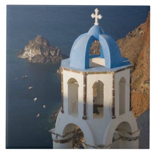 Greece and Greek Island of Santorini town of Oia 2 Tile