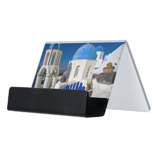 Greece and Greek Island of Santorini town of Oia 3 Desk Business Card Holder