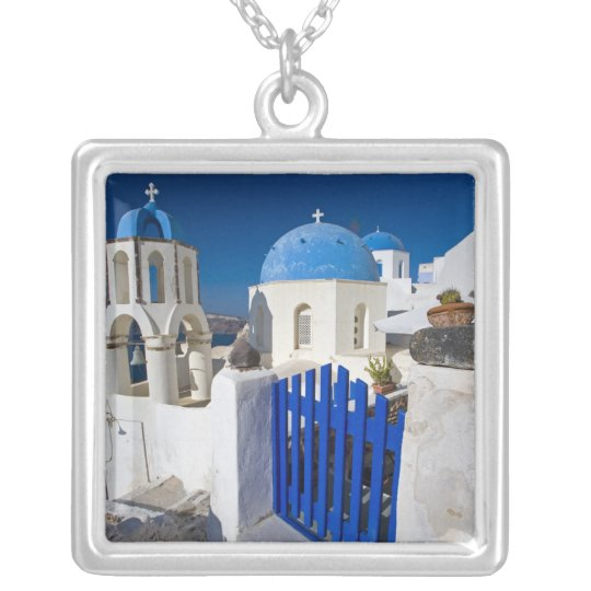Greece and Greek Island of Santorini town of Oia 3 Silver Plated Necklace