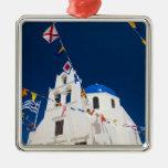 Greece and Greek Island of Santorini town of Oia 4 Square Metal Christmas Ornament