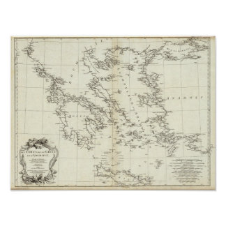 Greece and Turkey Engraved Map Print
