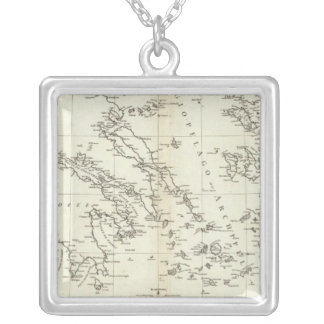 Greece and Turkey Engraved Map Silver Plated Necklace
