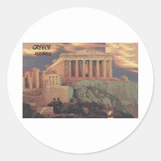Greece Athens Parthenon Clouds (St.K) Round Sticker