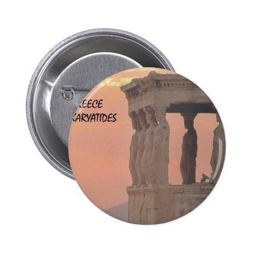 Greece Athens Parthenon-Karyatides (St.K) 2 Inch Round Button