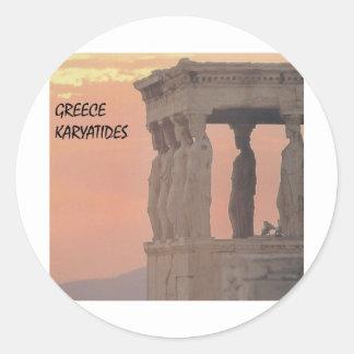Greece Athens Parthenon-Karyatides (St.K) Classic Round Sticker