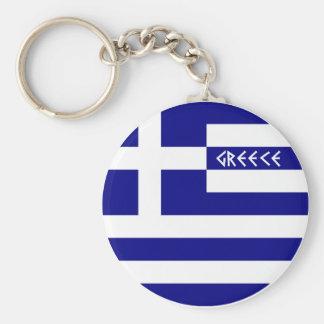 Greece Basic Round Button Keychain