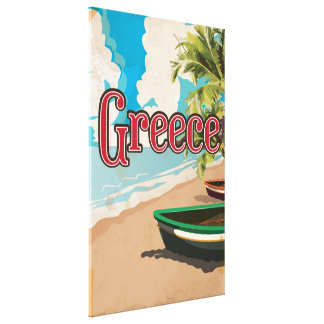 Greece Beach vintage travel poster Canvas Print