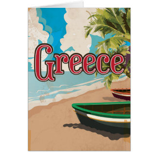 Greece Beach vintage travel poster Card