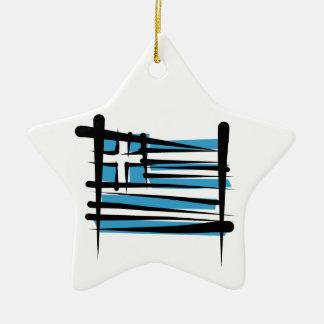 Greece Brush Flag Ceramic Ornament