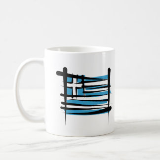 Greece Brush Flag Coffee Mug