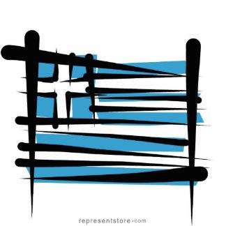 Greece Brush Flag Cutout